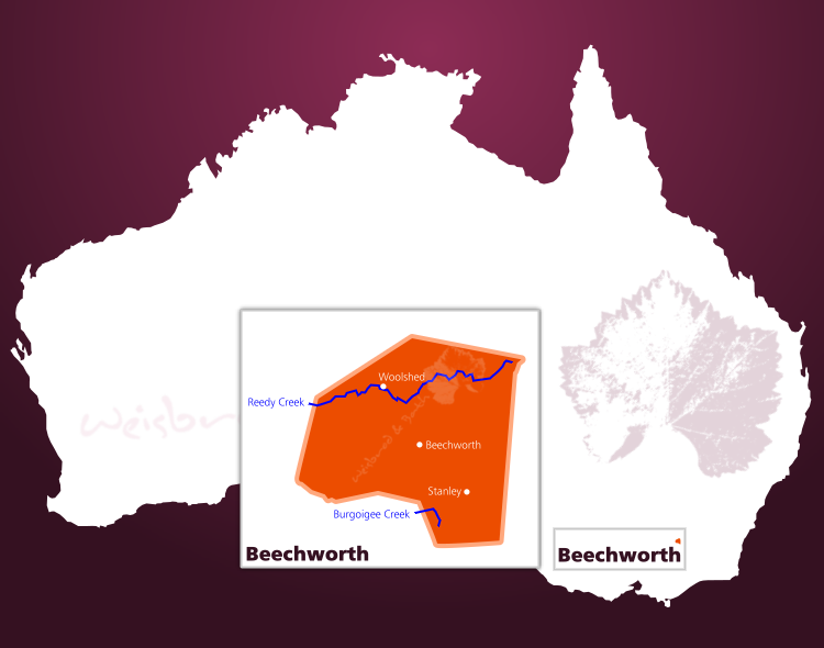 Karte des Weinbaugebiets Beachworth in North East Victoria