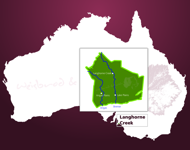 Karte des Weinbaugebiets Langhorne Creek in South Australia