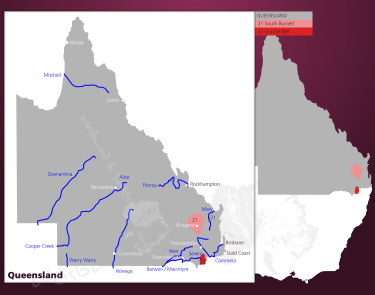Karte des Weinregion Queensland in Australien