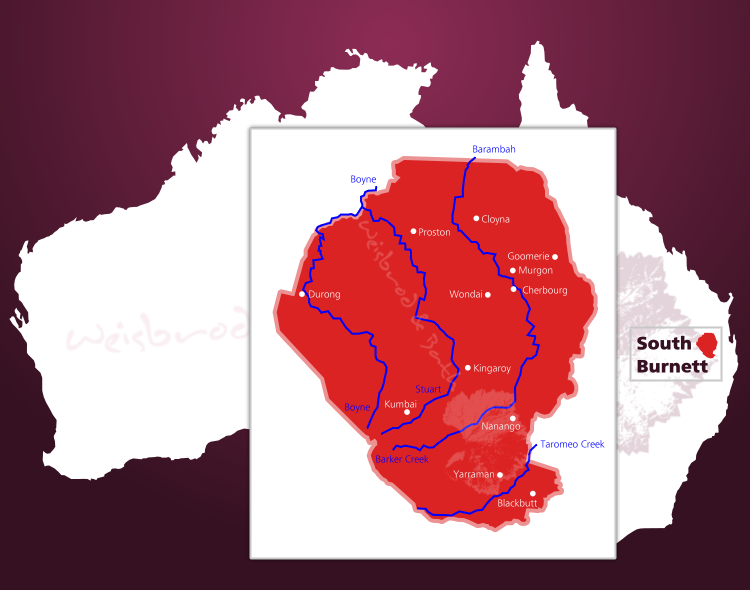 Karte des Weinbaugebiets South Burnett in Australien