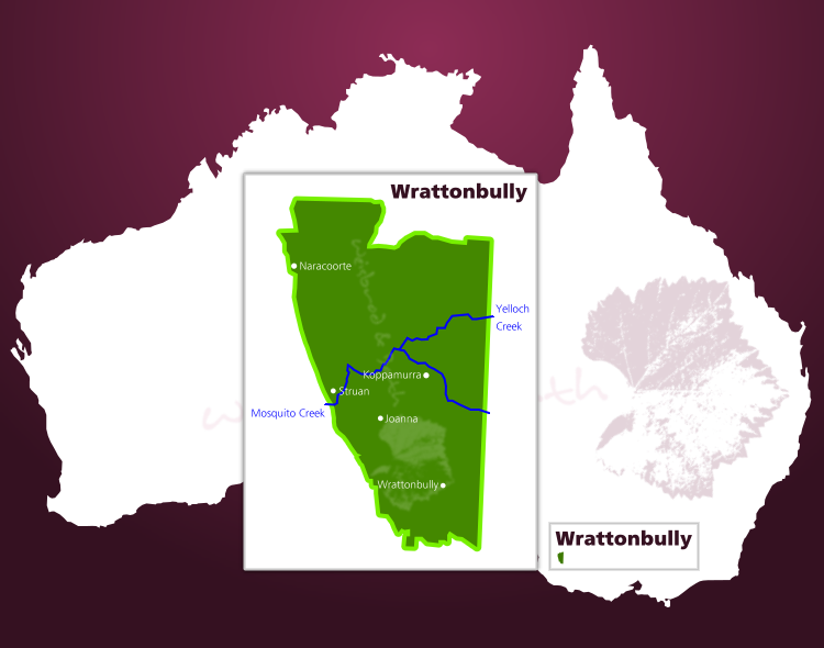 Karte des Weinbaugebiets Wrattonbully in South Australia