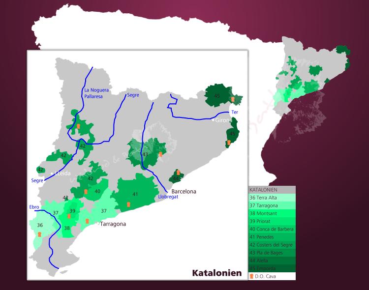 Spanien Katalonien Karte.Weinbauregion Katalonien Spanische Weinbauregion In Nord
