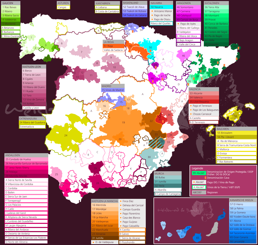 Spanien Regionen Karte.Weinbauland Spanien Weinbau Und Weinbauregionen In Spanien