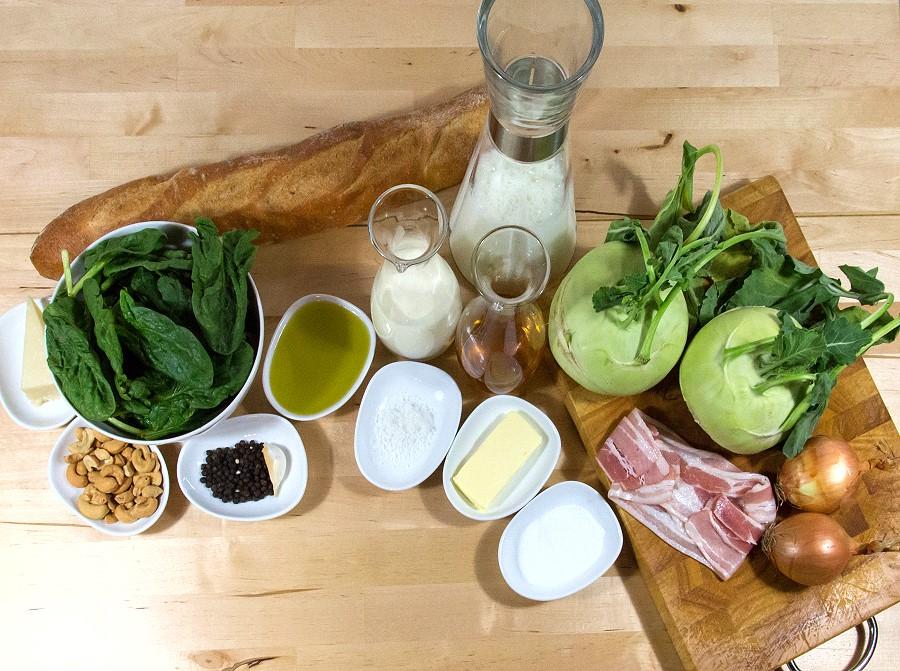 Zutaten für die Kohlrabisuppe mit Spinat-Pesto