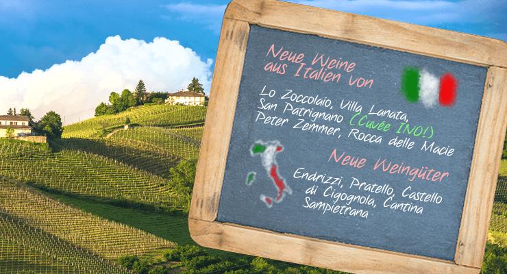 Das Bild zeigt welche neuen Weine und Weingüter aus Italien wir verkaufen