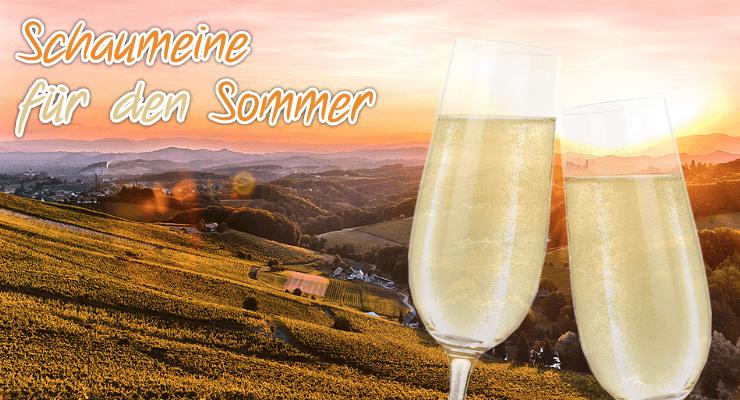 Zwei Gläser Prosecco stoßen vor einer sommerlichen Abendlandschaft an